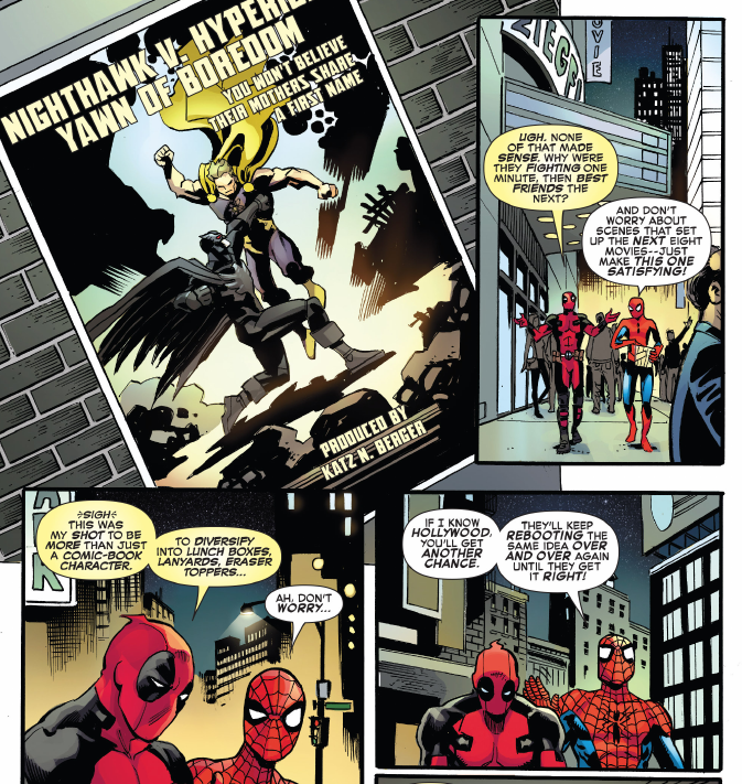 DeadPool SpiderMan burn Batman versus Superman DC Comics WarnerBros Comic strip