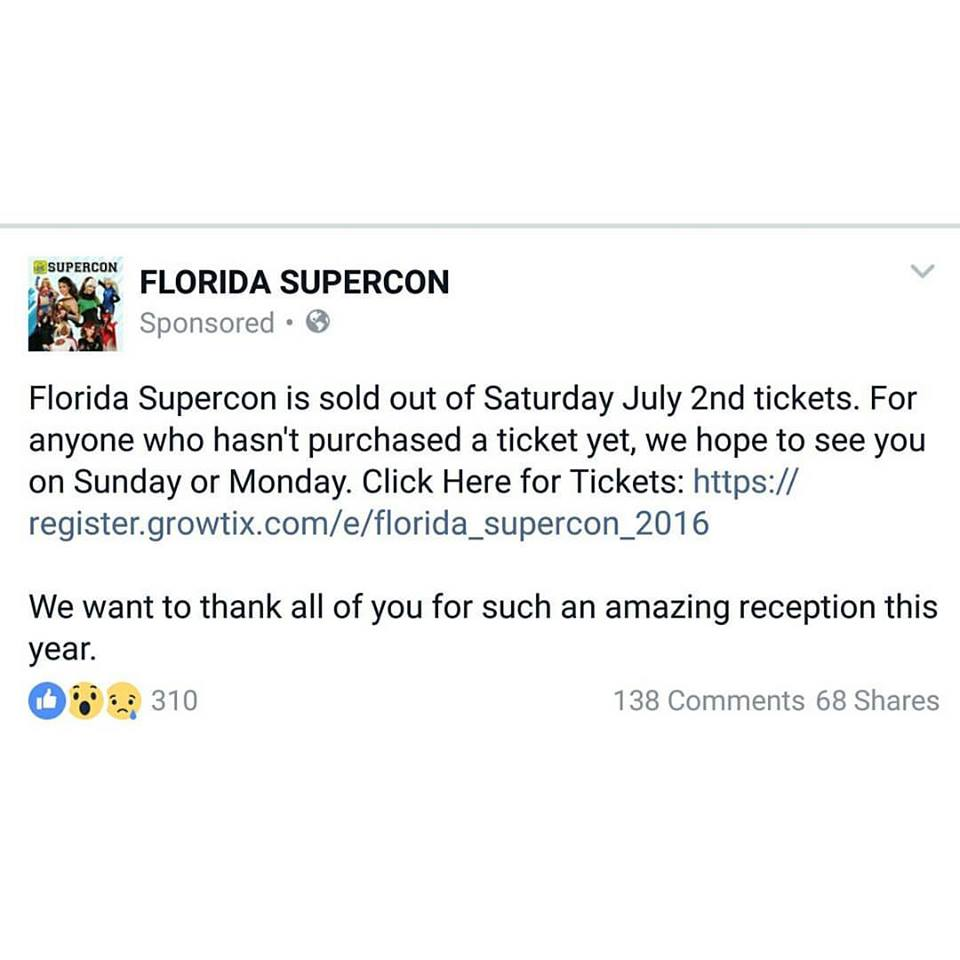 SuperCon 2016 July 2nd tickets sold out