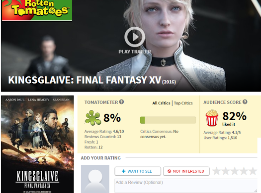 Rotten Tomatoes Final Fantasy XV KingsGlaive AMC Movie theater Disney Lake Buena Vista Cosplay Playstation Xbox