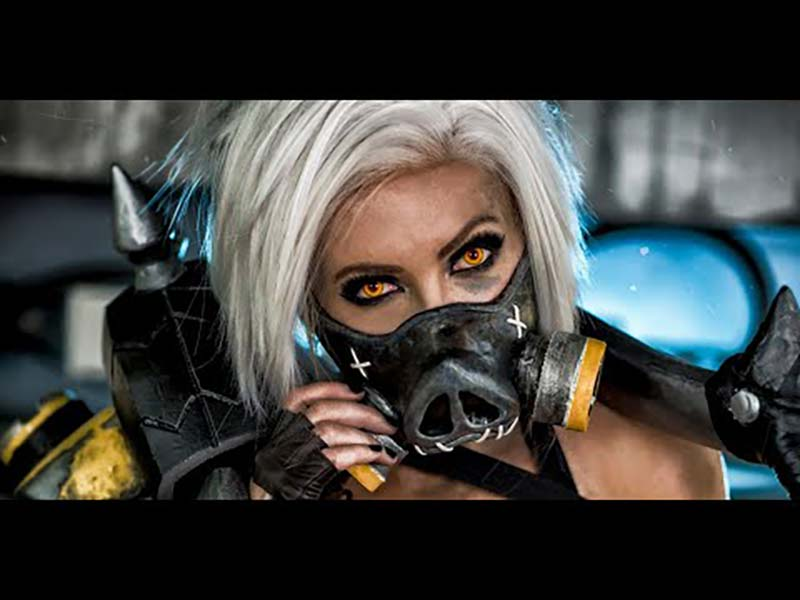 Jessica Nigri OverWatch Cosplay RoadHog Mask and Hook